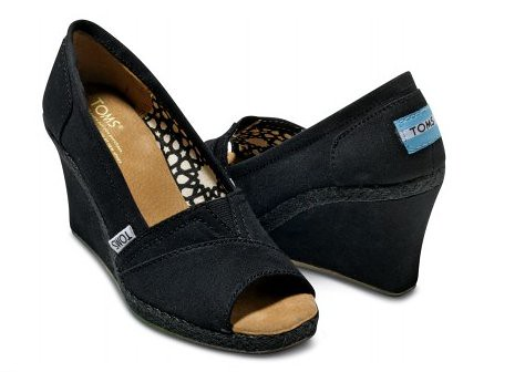 Black Tom's Shoes Canvas Wedges