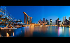 DNA Blues (DanielKHC) Tags: city bridge blue light panorama water night marina reflections 1 bay high nikon bravo singapore long exposure cityscape dynamic dusk double explore hour dna helix sands range dri beams hdr mbs spotlights d300 danielcheong bratanesque danielkhc tokina1116mmf28
