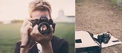 old but fashioned 2 - the Nikon F3 (Maegondo) Tags: camera sunset sunlight film field backlight canon vintage germany bag bayern deutschland bavaria nikon diptych dof bokeh 14 sigma retro dreamy f3 depth creamy ingolstadt 30mm eos550d