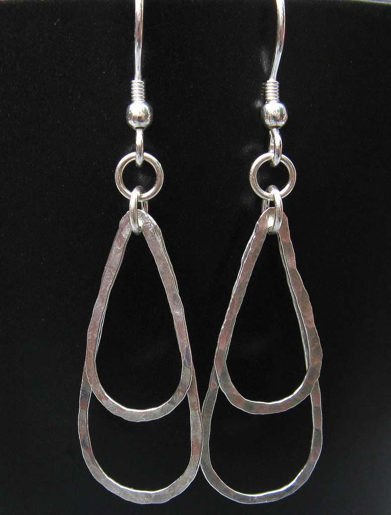 Fused Fine Silver Double Teardrop Hoops
