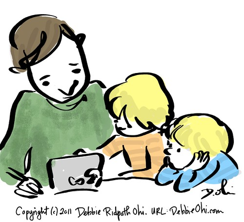 Quickie sketch: My nephews give my dad-in-law an iPad lesson