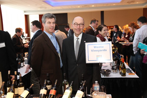 U.S. Ambassador David Jacobson (center) had the chance to admire some of the wines showcased by Michael Parr, vice-president of international sales for Wente Family Estates, during the California Wine Fair on April 6 at the Westin Hotel in Ottawa. Wente Family Estates was one of more than 70 California Vineyards introducing the public to their best vintages.