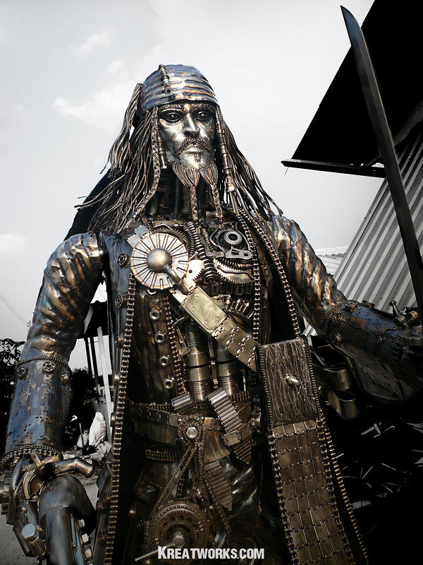 1e45550b80 steampunk jack sparrow metal sculpture 1