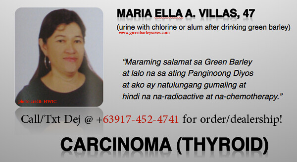 green barley testimonial on carcinoma (thyroid)