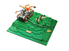 """Take Cover!"" (ernald) Tags: plant tank lego wwii explosion chain ww2 minifig tread diorama sherman mls 32x32"
