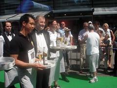 Waiters preparing to run