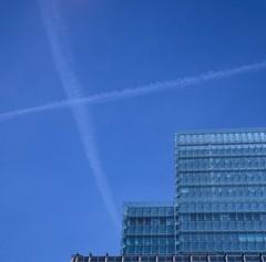 Saltire Tetris (tubb) Tags: city blue sky cross contrails offices cityoflondon tubb fujiprovia400x agfaisoletteiii