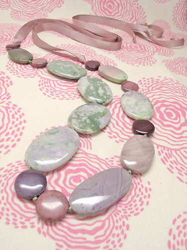 L'Amore - Gemstone and Ribbon Necklace by Bunny_Nikisha