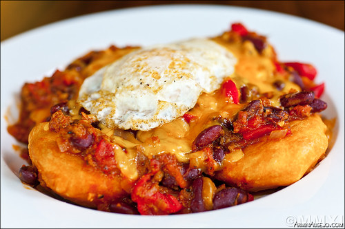 Fry Bread, Chili, Cheese, and Egg