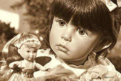 Sarita  in sepia. (Rapunzel new (on and off)) Tags: collectibles nikond90 sisselskille gotzdolls