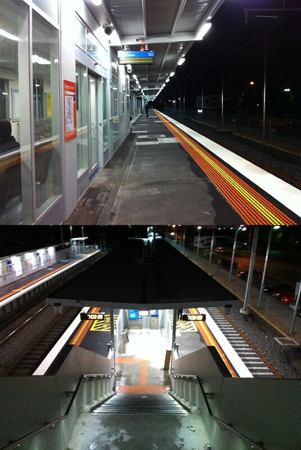 Westall station: Plenty of cover from the rain along the platform, but none on the steps.