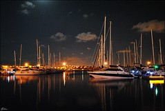 Torrevieja - 2014 (Selene's Photography) Tags: mar playa beach sea water agua barcos boats boat ship vela veil night noche luna moon reflejo sky espaa spain muelle torrevieja