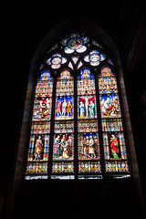 Stained glass history (quinet) Tags: 2014 basilicaoftheholyblood basiliquedusaintsang belgium bruges glasmalerei heiligbloedbasiliek stainedglass vitrail antwerp flanders