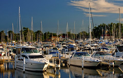 Michigan City Harbor 9-12-2016 8608 (www.cemillerphotography.com) Tags: lakefront lakemichigan sundown dusk nightfall washingtonpark recreation megawatt energy emissions indiana factory smokestack smoke