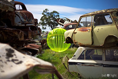 Ball of Light - GREENPEACE (biskitboy) Tags: car rust rusty mini ars barossa barossavalley carwreck balloflight 24105 wreckingyard dismantler 5dmkii 5dmk2