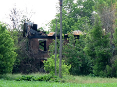 Wright House — Perry Township, Franklin County, Ohio (Pythaglio) Tags: county ohio dublin brick abandoned overgrown stone farmhouse franklin historic burned ihouse roofless sills lintels
