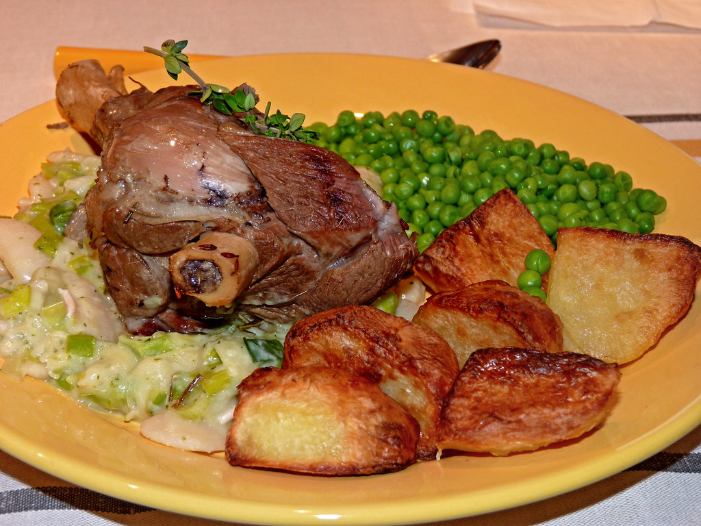 Slow Cooked Lamb Shank with Garlic