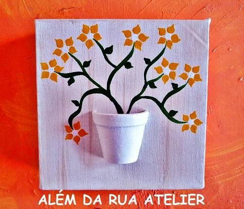 tela com vasinho e flores