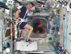 Exercising in the Destiny lab (magisstra) Tags: 3d exercise astronauts destiny iss esa internationalspacestation europeanspaceagency paolonespoli expedition26 expedition27