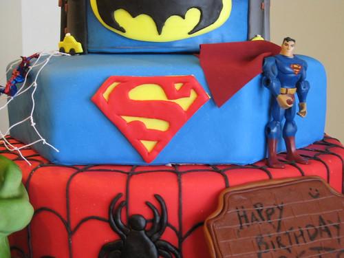 superheroes cake.  The Hulk, Spiderman, Superman, Batman.