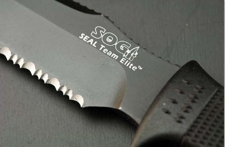 "SOG SEAL Team Elite 7"" Black TiNi Finish Combo Edge Blade"