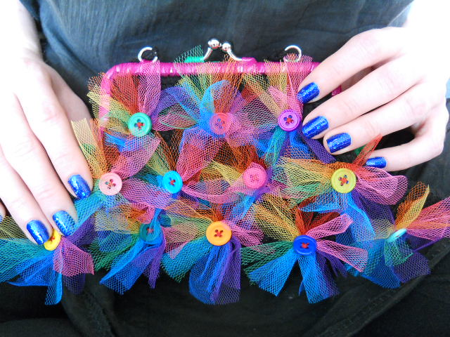 Black Crochet Purse With Rainbow Buttons And Tulle