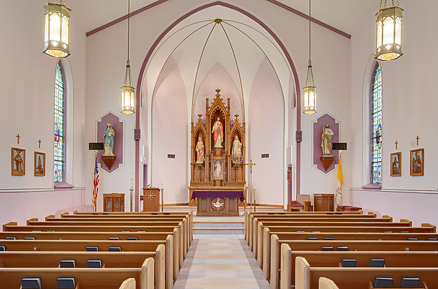 Saint Elizabeth Roman Catholic Church, in Marine, Illinois, USA - nave