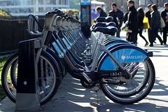 Boris bikes, London (hobbitbrain) Tags: london bike mayor governator barclays arnoldschwarzenegger borisjohnson hirebike borisbike bb18043 borisbikes:bike=18043