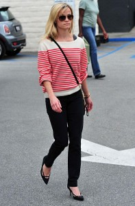 Reese-Witherspoon-striped-red-sweater-black-pants-casual-197x300