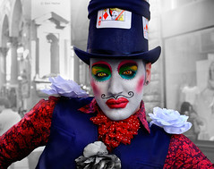 Queen - 2 (Ben Heine) Tags: street portrait italy woman man game flower art love fleur look hat fashion club fun happy photography sadness florence moving colorful king artist italia different clown satire culture makeup happiness clubbing hobby pop lips player parade moustache transgender nostalgia identity difference chapeau photoediting caricature carnaval expressive firenze identité bisexual lipstick gaypride dragqueen presence performer rue diva reine androgyny maquillage gender genre peau homme transsexual regard déguisement lèvres postprocessing transvestism theartistery whiteskin transexuel benheine touchant samsungimaging