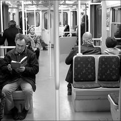 Commuting (*Kicki*) Tags: people bw underground subway square t book metro sweden stockholm schweden tube sl ubahn commuting sverige suede commuters c6 tunnelbana monocrome tbana tunnelbanan 2011 kicki tbanan rdalinjen bana2 kh67 banatv