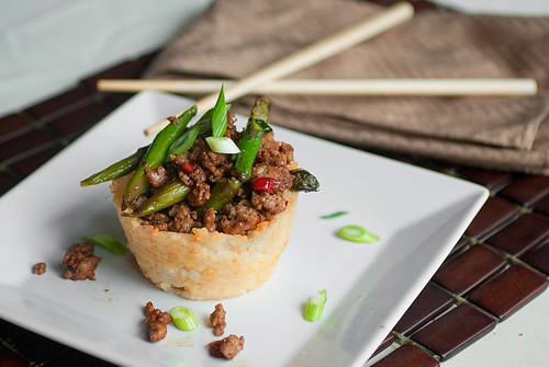 Pork and Asparagus Stir-fry in a Rice Bowl
