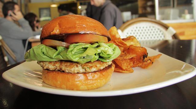 Grammys' turkey burger with chips.