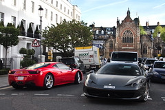 916. (Alex Penfold) Tags: camera red 2 two london cars alex sports car canon photography grey photo cool italia shot image duo awesome picture fast super ferrari harrods knightsbridge exotic photograph arab saudi hyper supercar numberplate exotica fer supercars combo   penfold ferraris   458 2011       60d     hpyer 458s   my58 my58per