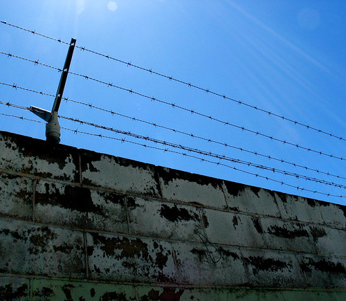 Wall Barbed Wire Fence Blue Sky Gainesville