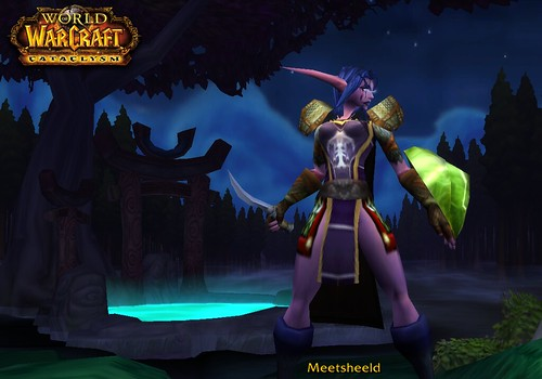 A night elf warrior, named Meetsheeld, stands in a forest in front of a shallow glowing pool, holding a sword and shield. She has light purple skin, long blue hair, long pointed ears, and is wearing a tabard, pauldrons, gloves, and what appears to be a loincloth in lieu of pants.