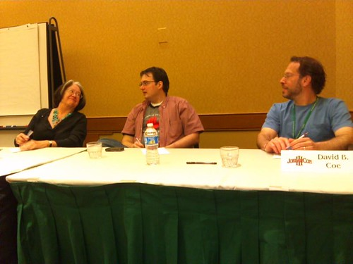 "Harriet McDougal, Brandon Sanderson and David B. Coe, the panelists during the 30-second novel pitch critique ""JordanCon's Got Talent"""