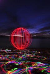 after dinner orb (emellin66) Tags: ocean longexposure sunset lightpainting beach hawaii pacific orb maui flashlight lahaina flashlights extendedexposure kaanapali sooc