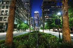 All roads lead to Canary Wharf (TheFella) Tags: road street city uk longexposure greatbritain trees england urban slr london night digital skyscraper photoshop canon eos photo high europe dynamic unitedkingdom capital photograph processing slowshutter gb lighttrails dslr canarywharf range hdr highdynamicrange reservation canarywharftower postprocessing onecanadasquare 1canadasquare 500d photomatix hdrs