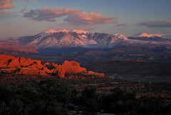 The La Sal Mountains as seen from Arches National Park at sunset [EXPLORED!] (Jeka World Photography) Tags: world travel sunset red usa cloud mountain snow mountains art jeff nature rose rock vertical horizontal landscape outdoors photography utah photo nikon sandstone day image dusk tranquility arches nopeople snowcapped geology archesnationalpark scenics rockformation mountainrange tranquilscene jeka d60 lasalmountains traveldestinations colorimage naturallandmark beautyinnature jeffrose physicalgeography jekaworldphotography jeffrosephotography kalitharosephotography