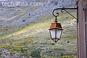 Metalwork lantern in French Provence. The exposure was reasonably well-balanced.