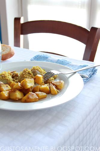 Calamari ripieni gratinati con patate arrosto allo zafferano