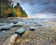Hurricane River , Pictured Rocks National Lakeshore (Michigan Nut) Tags: longexposure autumn usa geotagged stones coastline lakesuperior picturedrocksnationallakeshore michiganlandscapes michigannutphotography nikon1635mmf4gedafsvrwideanglezoomlens