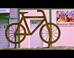 Bicycle street art (Vorona Photography) Tags: street city urban usa color art public bike bicycle metal america way restaurant photo washington interesting artwork highway rust view ride state pacific northwest image south united creative picture rusty bbq gritty neighborhood riding photograph 99 level rusted hawaiian commuter tribute local tacoma states roadside rider
