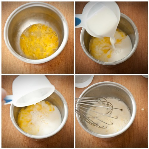 Mix egg and milk, stir and set aside