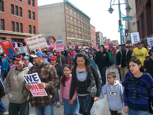 May Day 2011 in Milwaukee brought out 100,000 workers, youth and community people to demonstrate for immigrant and workers' rights. The state of Wisconsin has set an example for workers in the global economic crisis. (Photo: Abayomi Azikiwe) by Pan-African News Wire File Photos