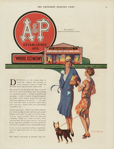 A&P ad, 1929 Saturday Evening Post, why shop in a chain store