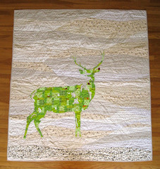 green stag quilt (Dan @ Piece and Press) Tags: green stag quilt chartreuse deer quilting reverseapplique rawedge inprovisational