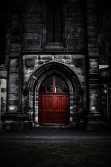 Red Door... (isdky - Brian Barnett) Tags: door red brick church photoshop dark large double oldham hdr brickwork stjameschurch photoshoppery sigma30mmf14 pentaxk7