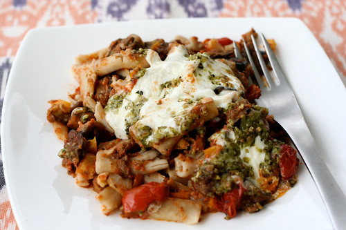 Penne with Eggplant and Pine Nut Crunch (Gluten-free) - Tasty Yummies